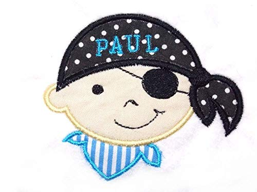 Pirat Junge Pirate Name Applikation Patch Piraten Aufnäher Aufbügelbilder für Kinder Farbwahl Aufbügler Bügelbild