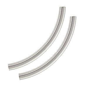 Broche de plata de ley acabado elegante churro de gomaespuma para piscina tamaño grande tubo de cuentas (2) 40 mm x 3 mm