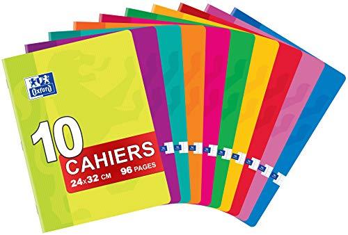 Oxford Classique Lot de 10 Cahiers Agrafés 24 x 32cm 96 Pages Grands Carreaux Seyès Couleurs Assorties