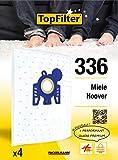 TopFilter 336, 4 sacs aspirateur pour Hoover et Miele, boîte de sacs d'aspiration en non-tissé, 4 sacs à poussière (30 x 26 x 0,1 cm)
