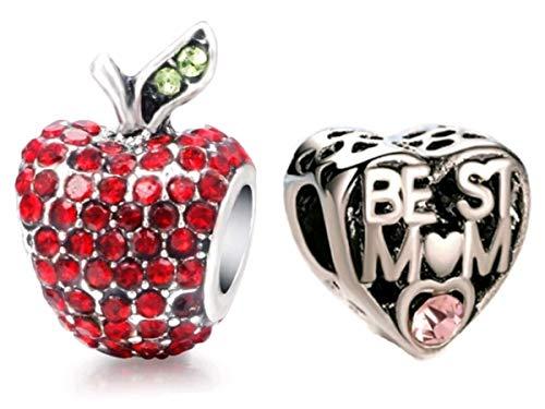 Marnis - 2 Charms Pandora Style | Corazon Mejor Mama y Manzana | Colgantes mujer | Compatibles Pulsera Pandora Charm Plata | Regalos originales Madre (Corazon + Manzana Roja Cristales)