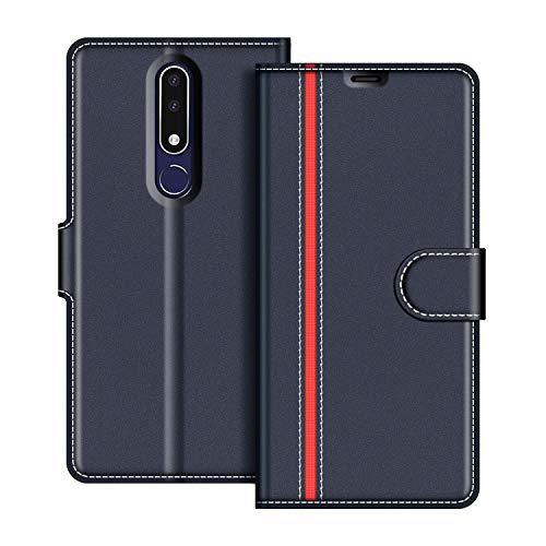 COODIO Handyhülle für Nokia 3.1 Plus Handy Hülle, Nokia 3.1 Plus Hülle Leder Handytasche für Nokia 3.1 Plus Klapphülle Tasche, Dunkel Blau/Rot