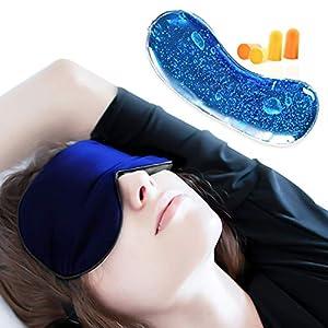 Antifaz para Dormir con Antifaz de Gel, JAANY 100% Seda Pura Anti-Luz Máscara de Ojos, Máscara de Dormir con Tapón de Oído y Ajustable Correa (Azul oscuro)