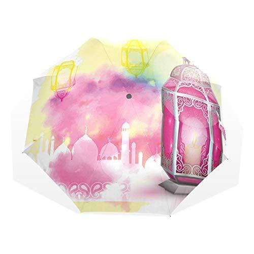 LASINSU Regenschirm,Laterne kurvigen Rahmen antiken Alten Motiv Floral ethnischen Tattoo Hand von Fatima Multicolor Hot,Faltbar Kompakt Sonnenschirm UV Schutz Winddicht Regenschirm