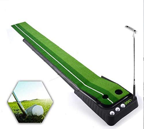 Golf Putting-Matte für drinnen und draußen, mit automatischer Rücklaufsperre, 2 Löcher, Grün