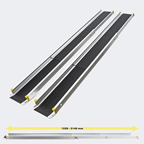 Wiltec Rampe di carico telescopiche Antiscivolo in Alluminio per carichi Fino a 270kg