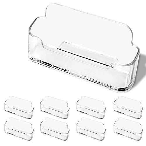 8 Pack Acrylic Business Card Holder for Desk - DMFLY Plastic Business Card Display Clear Business Card Stand Desktop Business Card Holders for Exhibition, Home & Office, Fits 30-50 Business Cards