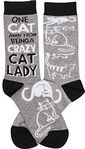 Primitives by Kathy LOL Made You Smile Gift Socks, Crazy Cat Lady