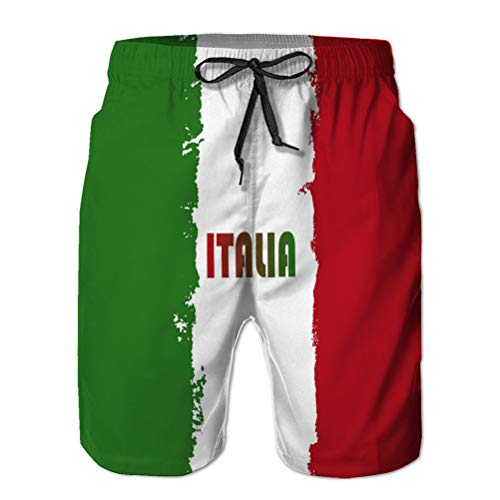 Xunulyn Herren Swim Trunks Beach Short Board Shorts Tag der italienischen Flagge Republik