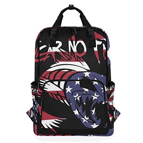 DEZIRO Rucksack mit amerikanischer Flagge, Fear No Fish