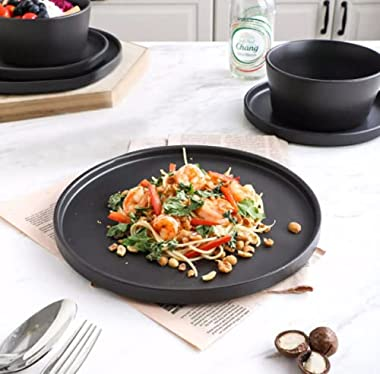 24-Piece Modern Ledge Stoneware Dinnerware Set, Black Matte