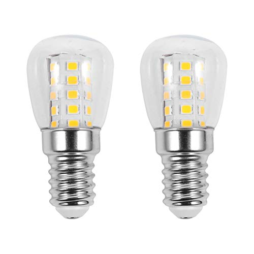 SOLUSTRE Lampadina a LED per frigorifero, 40 W, equivalente, 220 V-240 V, E14, per frigorifero, impermeabile, 3 W, base media, congelatore, microonde, illuminazione luce bianca calda, 2 pezzi