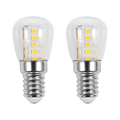 SOLUSTRE Bombilla LED para frigorífico de 40 W equivalentes a 220 V - 240 V E14, bombillas impermeables de 3 W, base media, para congelador, microondas, iluminación blanca cálida, 2 unidades