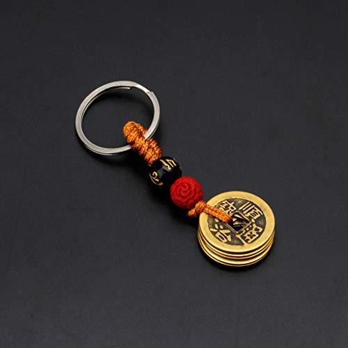 LAOLEE Llavero chino de la fortuna Feng Shui antiguas monedas, llavero colgante juguetes para riqueza y éxito.
