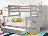 Bedz King Stairway Bunk Beds Twin over Full with 4 Drawers in the Steps and a Twin Trundle, Gray