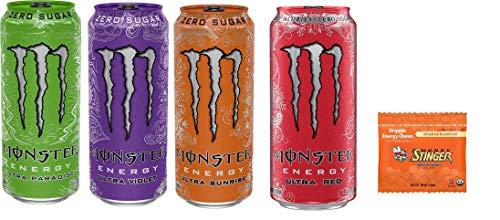 Monster Energy Drink Zero Ultra Variety - Paradise, Violet, Sunrise, Red 16 ounce (Pack of 16) and Stinger Orange Blossom Chews
