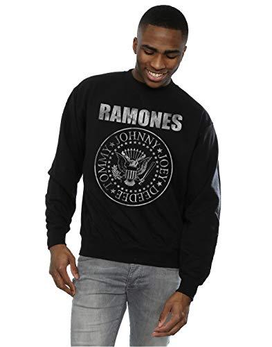 Ramones hombre Distressed Seal Camisa de entrenamiento XXX-Large Negro