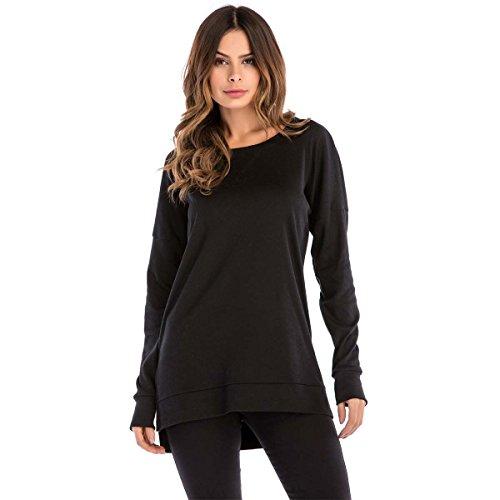 Damen Sweatshirt Hoodie Pullover Oberteile Kapuzenpullover Round Ausschnitt Patchwork Pulli Tunika T-Shirt (Schwarz, L)