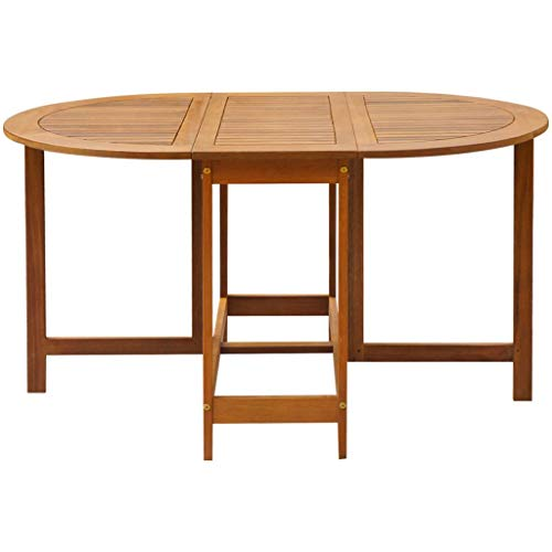 Festnight Outdoor Patio Large Dining Table Oval Drop Leaf Table Acacia Wood