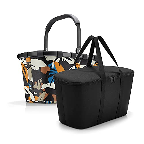 Reisenthel - Set da carrybag BK + borsa frigo UH BKUH, cestino per la spesa con borsa frigo abbinata, Frame Miami Black + Black, Tote da viaggio
