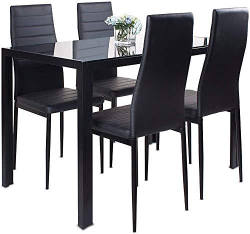 Combinación de restaurante 4 conjuntos, mesa de vidrio y 4 espuma de cuero artificial con costilla High Back Soft Pad Sillón Muebles de restaurante rectangular moderno,Black