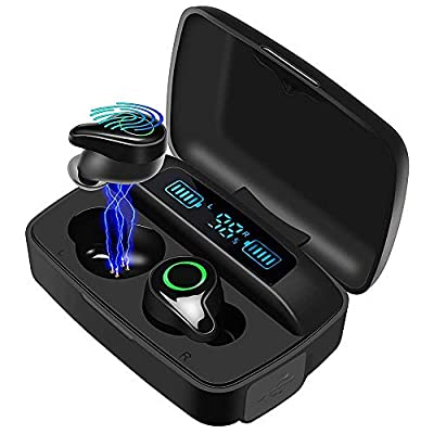 moosen Wireless Headphones, Bluetooth 5.0 Wireless Earbuds 156H Playtime Deep Bass Hi-Fi Stereo Sound in-Ear Bluetooth Earphones with Mic, IPX7 Waterproof, Smart LCD Digital Display Charging Case by moosen