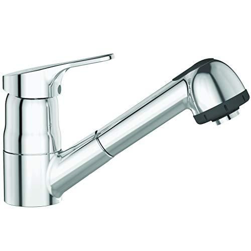 Ideal Standard CeraFit Küchenarmatur (Einhebel-Armatur, Rohrauslauf+Luftsprudler ausziehbar, Chrom, Höhe 145 mm, Ausladung 236 mm) BC146AA