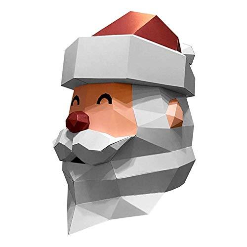 Molinter Origami Papel 3D Navidad Papá Noel máscara DIY Craft Papel Papel Manualidades Papel Origami Papel plegable de dos caras para niños Navidad Decoración Children's version