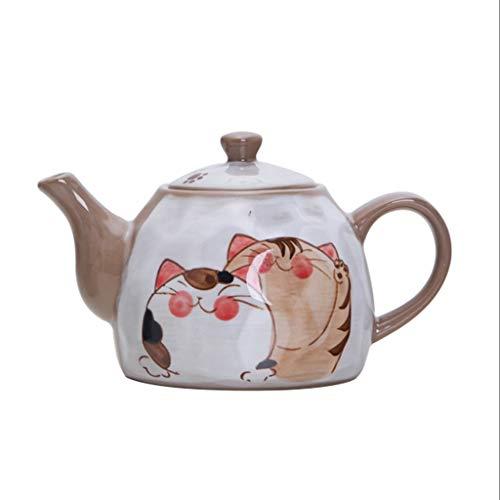 Pintado 550ml Creativa Mano del Gato de la Tetera hirvió la Olla de té Tetera de cerámica de Uso doméstico Caldera de té Juego de té con colador de té (tamaño : 550ml)