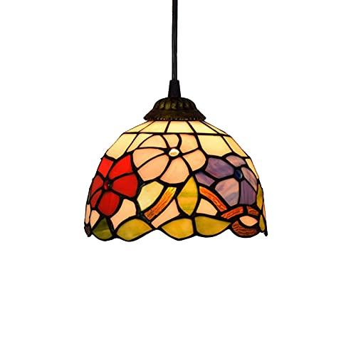 ZHANGDA 8 Zoll Mini Pendelleuchte Vintage Pastoral Tiffany Stil Glasmalerei Blumen Kronleuchter für Esszimmer Dachboden dekorative Hängelampe E27 (Morning Glory)