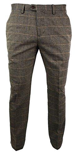marc darcy Herrenhose Braun Tweed Karriert Design Fischgräte Stil Slim Fit
