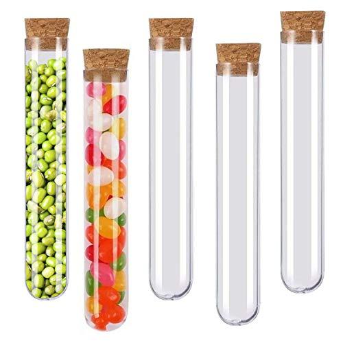 Ledeak Tubos de Ensayo Plásticos, 24pcs 20ml Transparente Regalo Tubos con Tapas de Empuje para Bricolaje Artesanía Decoración Laboratorio Plantas Almacenamiento Líquido Envases de Sal de Baño