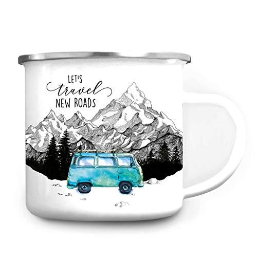 Wandtattoo Loft Emaille Campingbecher Let´s travel New Roads Bus Bulli Berge/silberner Becherrand