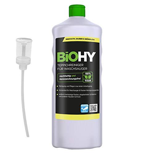 BIOHY Teppichreiniger für Waschsauger (1l Flasche) + Dosierer | geeignet für alle Waschsauger | entfernt Flecken und Schmutz mühelos | Reinigung und Pflege in nur einem Arbeitsgang