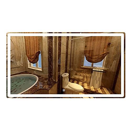 WDCC Espejos de baño iluminados con retroiluminación LED sin Marco Espejo de baño con luz Espejo de Maquillaje con función de atenuación e Interruptor de Sensor táctil 3 Colores de luz Ip44