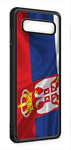 Kompatibel mit Samsung Galaxy S10 Silikon Handyhülle Flexibles Slim Case Cover Hülle Serbien Fahne Flagge Schwarz