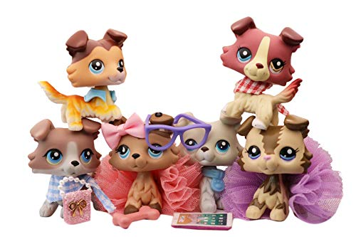 N/A USA LPS Collie Set 2210 1262 67 893 363 58 Raised Paw Blue Eyes Dog Puppy Figure with Accessories Lot Figure Collection Kids Birthday Xmas Gift 6 PC