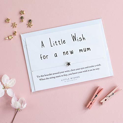 A Little Wunsch für eine Neue Mutter Bettelarmband mit Umschlag Werdende Mütter Neu Baby Geburtstag Weihnachtskarte
