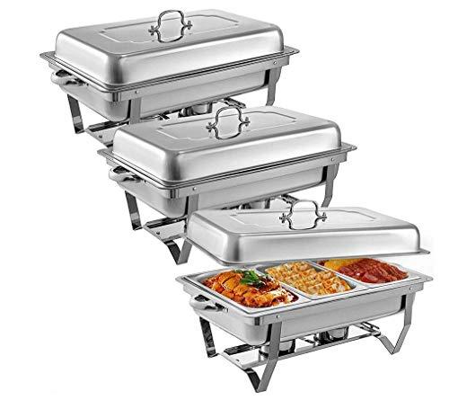 HYLH 3 Stücke Edelstahl Chafing Dishes 3 1 In 3rd Size Pfannen 8 Quart Rechteckige Chafer Komplettset Buffet Tablett Speisenwärmer