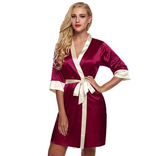 Dasongff dames ochtendjas Kimono kort, patchwork contrast nachtkleding badjas Robe Kimono negliggee zijden robe Locker pyjama Sleepwear V-hals met riem Small wijn