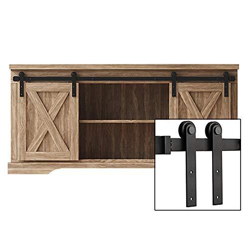 FREDBECK 5FT Mini Cabinet Sliding Barn Door Hardware Kit Double Door -TV Closet(No Cabinet)