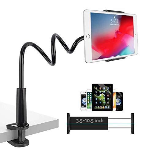 TKOOFN Supporto Tablet con Design a Collo di Cigno, 360° Clip di Montaggio Porta Tablet Regolabile per Tavolo Scrivania, Compatibile con 3,5'-10,5' Cellulare/i-Pad/Switch/Mediapad (Nero)