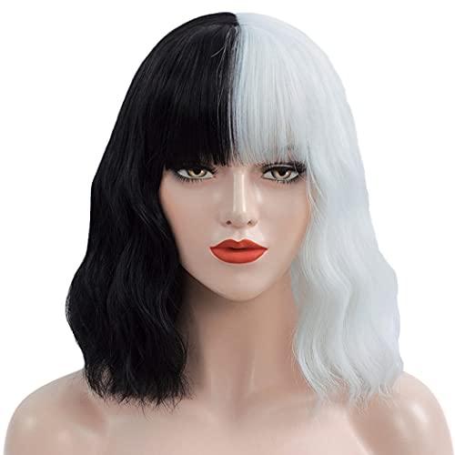 Mersi Cruella Deville Wigs for Women Kids, 13'' Short Curly Wavy Bob Hair Wig with Bangs Black White Wigs for Cruella Costume S046BW1