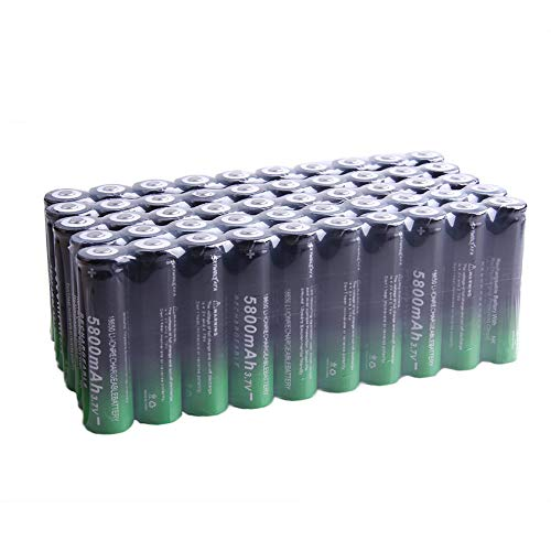 18650 Rechargeable Battery 3.7V 18650 Li-ion Rechargeable Battery Large Capacity Long Lasting for Flashlight Torch and Headlamp Replacement Batteries (50PC 3.7V 5800mAh Li-ion Battery - Black&Green)