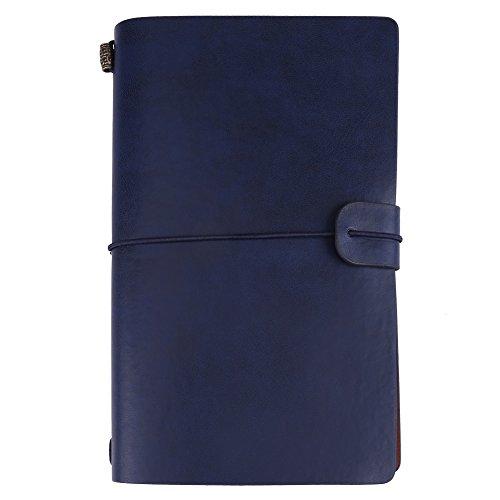 Cuaderno de Diario de Viaje, 1 Pc Cuaderno de Cuero de Pu Retro Vintage, Bloc de Notas Personalizado Diario Diario Recargable (Azul oscuro)