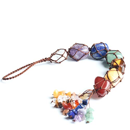 Anjiucc 7 Chakras Stones Healing Crystals Car Hanging Ornament Home Decoration Window Ornament,Feng Shui Ornament,Yoga Meditation