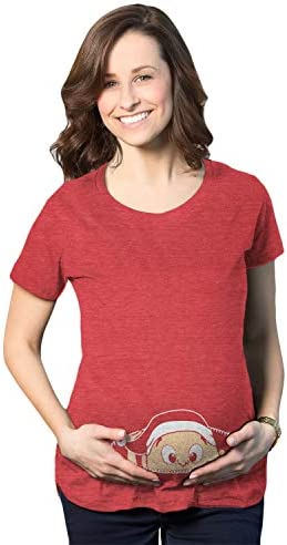 Maternity Christmas Baby Peeking Elf Funny T Shirt Announcement Pregnancy Bump Red L product image