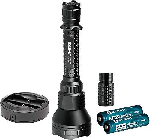 OLIGHT M3XS-UT Javelot Kit LED Taschenlampe max. 1200 Lumen LED taktisch, Schwarz - Box-Verpackung mit 2 x 18650 3600mAh Batterien Akkus, 1 x Omni Dok Ladegerät und 1 x Verlängerungsrohr
