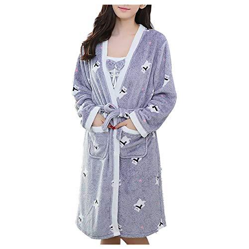 URIBAKY - Conjunto de pijamas, 2 piezas, forro polar, coral, para mujer, ropa de noche de manga larga, conjunto de pijamas, cardigán + falda con tirantes gris Talla única