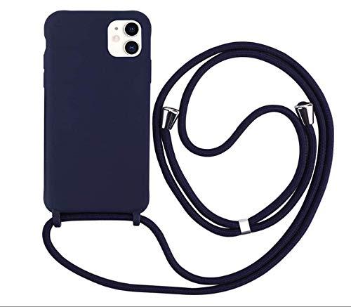 MEVIS Liquid Silikon Handykette Hülle für iPhone 11 Pro,Verstellbarer Halskette Silikon Handyhülle-Navy blau
